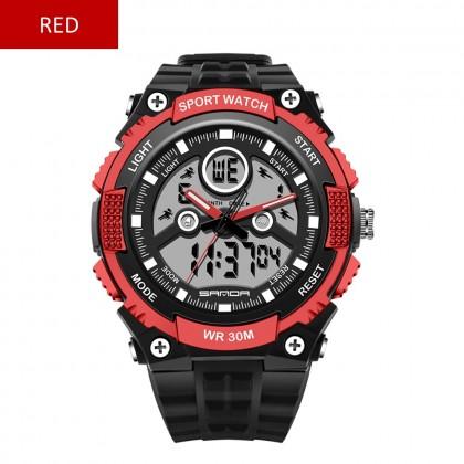 4GL Sanda 709 Watch Dual Display 30M Waterproof Sport Military LED Digital Watch