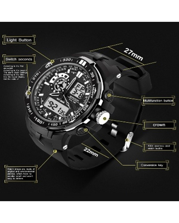 Sanda 737 Fashion Men Dual Display Multifunction Sport Watch