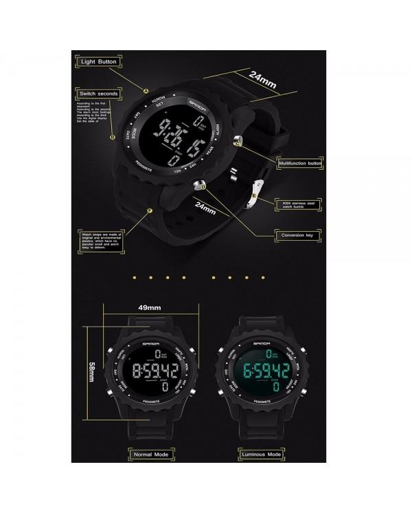 Sanda 370 Casual Men Sports Waterproof Counter Shock Wristwatch