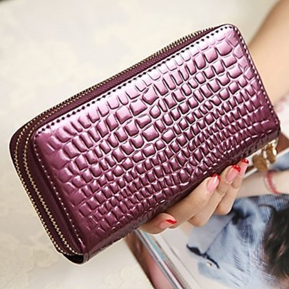 4GL 9118 Long Purse Ladies Women Wallets Double Zipper Clutch