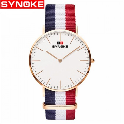 Synoke 3601 Simple Ultra-thin Quartz-Watch Classic Nylon Strap Waterproof
