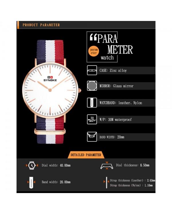 Synoke 3601 Simple Ultra-thin Quartz-Watch Classic Nylon Strap Waterproof