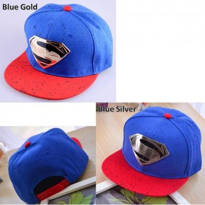 4GL Plated Gold Silver Superman Unisex Snapback Cap