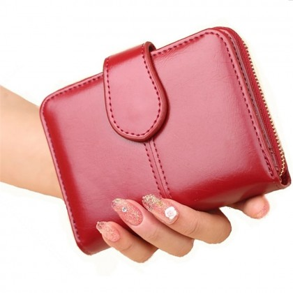 4GL Fashion Lady 1615 Oil Wax Leather Short Purse Wallet Wallets Bag Beg Women