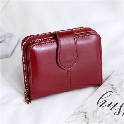 4GL Fashion Lady 1615 Oil Wax Leather Short Purse Wallet Wallets Bag Beg Women