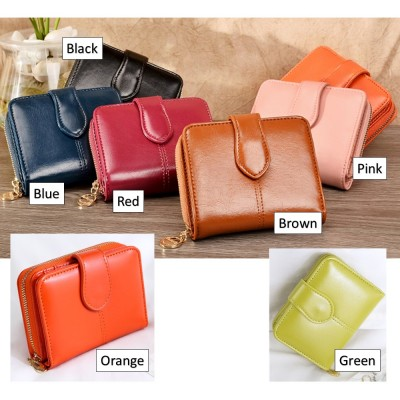 4GL Fashion Lady Oil Wax Leather Short Purse Wallet Wallets Bag Beg Women 1615