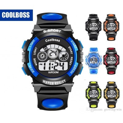 4GL Coolboss Brand Kids Sports Digital LED Watch Waterproof Jam Tangan