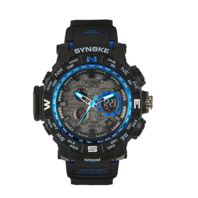 4GL SYNOKE Double display watch men sports watch 50M Waterproof 6509
