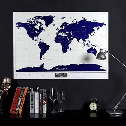 4GL Travel Life Scratch Off Starry Night Luminous World Map Poster