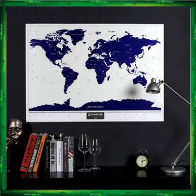 Travel Life Scratch Off Starry Night Luminous World Map Poster