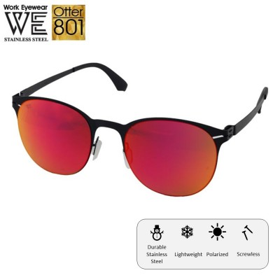 4GL Work Eyewear Otter 801 Stainless Steel Screwless Light Polarized Sunglasses