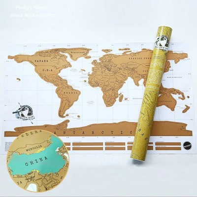4GL Scratch Off White Background Deluxe World Map Personalized Travel Map Poster