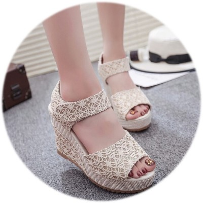 4GL Fashion Lace Strap Shinning Wedges Shoes Heels 3376