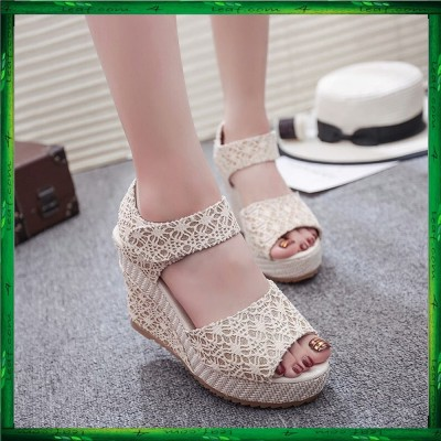 Fashion Lace Strap Shinning Wedges Shoes Heels