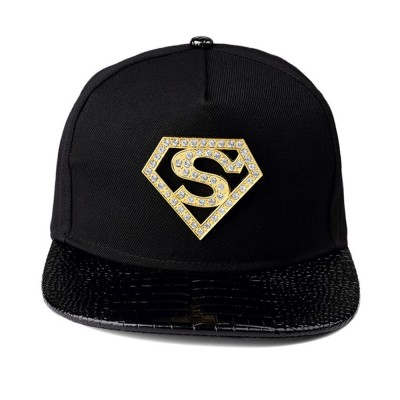 4GL Superman Diamond Black Gold Cap Hat Snapback