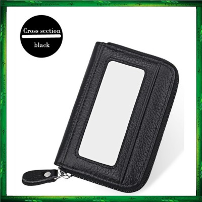 4GL Men Women Genuine Leather Zipper Card Holder Wallet KB08