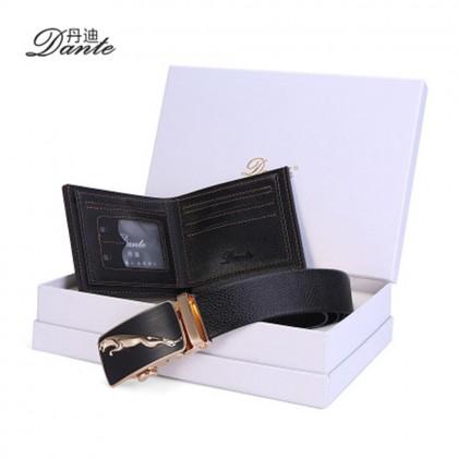 4GL Dante DWB02 Gift Set Premium Men's Leather Belt Wallet