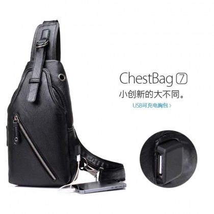 4GL Leather USB Crossbody Shoulder Bags Men Charger