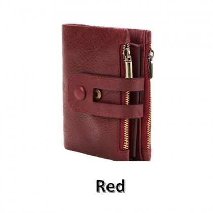 4GL 2059 Short Wallet Purse Cow Leather Coin Men Women Dompet