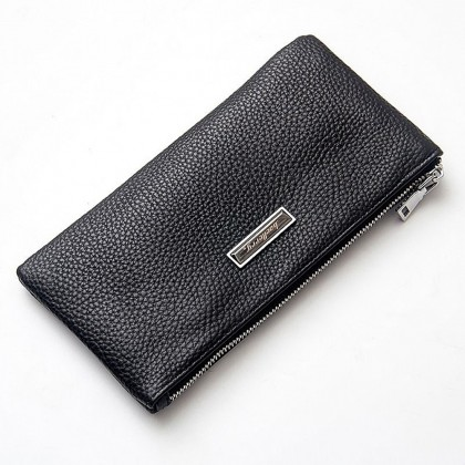 4GL Baellerry 66043 Long Wallet Genuine Cow Leather Slim Men Wallet Purse