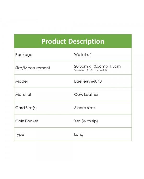 4GL Baellerry 66043 Genuine Cow Leather Slim Men Wallet Long Wallet Purse