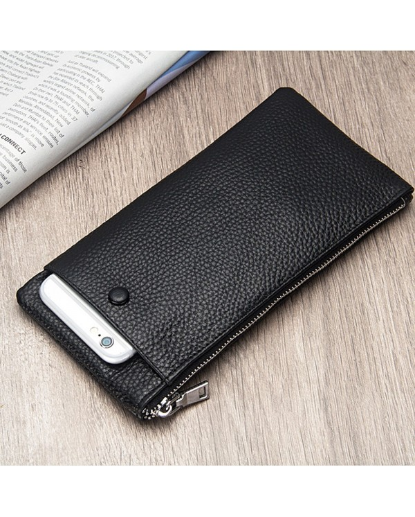 4GL Baellerry 66043 Genuine Cow Leather Slim Men Wallet Long Wallet Purse