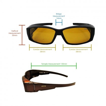 4GL Ideal 8890 Polarized Sunglasses FitOver Overlap
