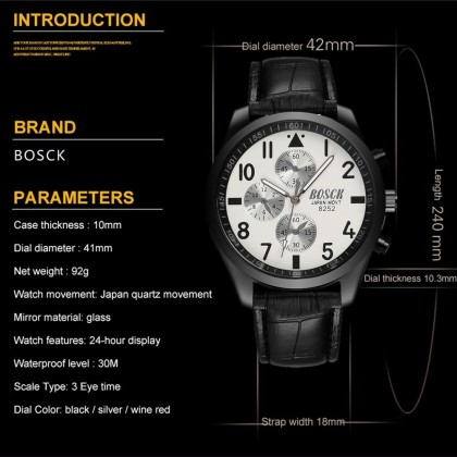 4GL BOSCK Men's Business Casual Sports Leather Waterproof Watch 8252