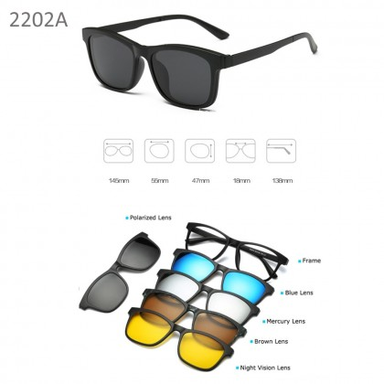 4GL 2202A Magnetic Clip On 6 in 1 Polarized UV Protection Sunglasses