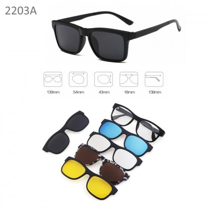 4GL 2203A Magnetic Clip On 6 in 1 Polarized UV Protection Sunglasses