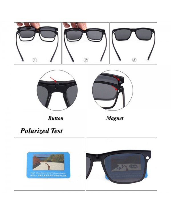 4GL 2245 Magnetic Clip On 6 in 1 Polarized UV Protection Sunglasses