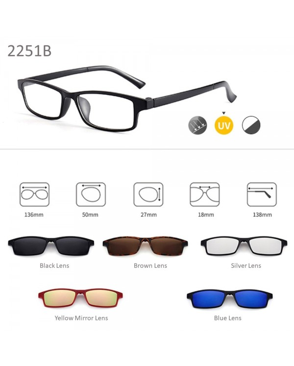 4GL 2251 Magnetic Clip On 6 in 1 Polarized UV Protection Sunglasses