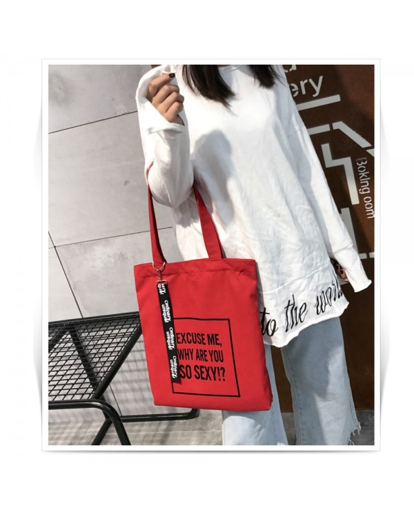4GL Fashion Canvas Tote Bag Printing Bag Why Are You So Sexy