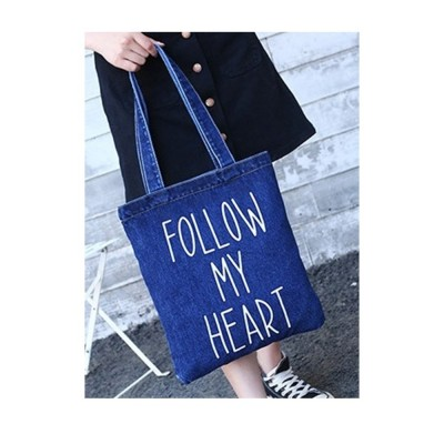 4GL Fashion Denim Jean Tote Bag Top Handle Bag Follow My Heart