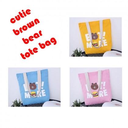 4GL Cute Brown Bear Canvas Tote Bag Top Handle Bag