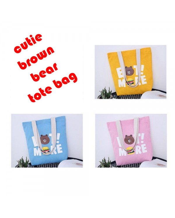 4GL Cute Brown Bear Canvas Tote Bag Top Handle Bag