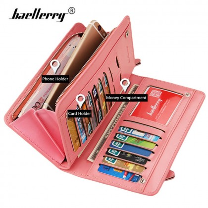 4GL Baellerry Q5005  High Capacity Wallet Women Leather Long Zipper Purse Dompet