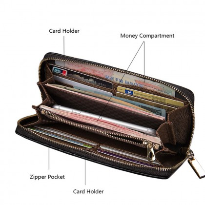 4GL Baellerry S6055 Men Women Wallet Long Zipper Purse Wristlet Dompet