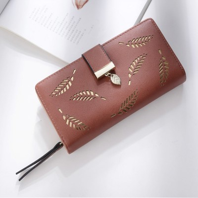 4GL 8J3117 Fashion Hollow Out Leaves Women Long Purse