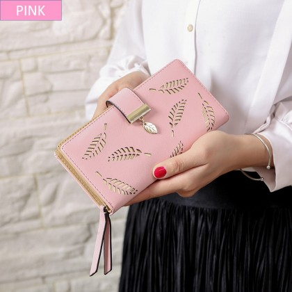 4GL 8J3117/XA1a534 Long Purse Fashion Hollow Out Leaves Women Wallet Credit Card Holder