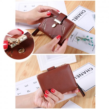 4GL 8M219 Fashion Hollow Out Leaves Women Short Purse