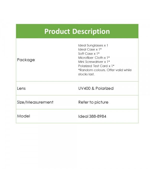 4GL Ideal 388-8984 Polarized Sport Sunglasses UV 400