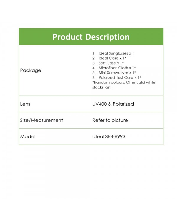 4GL Ideal 388-8993 Polarized Sport Sunglasses UV 400