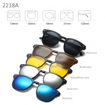 4GL 2218A Magnetic Clip On 6 in 1 Polarized UV Protection Sunglasses