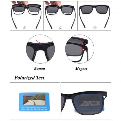 4GL 2218A Magnetic Clip On 6 in 1 Polarized Sunglasses UV Protection