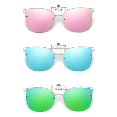 4GL CS09 Fashion Metal Frame Clip On Polarized Sunglasses