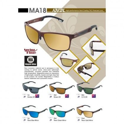 4GL Ideal MA18 Polarized Sunglasses Magne Alloy Spring Hinge UV400