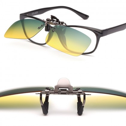 4GL CS10 Clip On Polarized Sunglasses Day Night Vision Driving