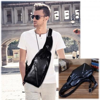 4GL Sling Leather Bag Fashion Men Chest Bag Crossbody Shoulder Beg Sling Bag