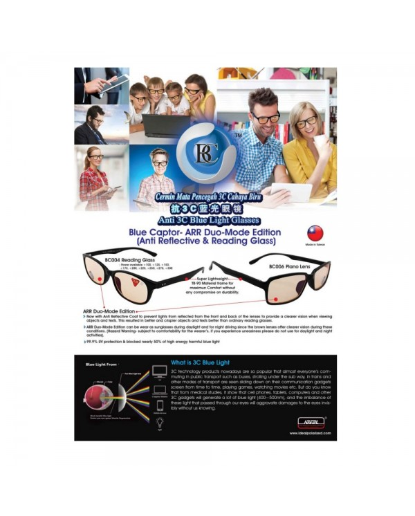 4GL IDEAL BLUE CAPTOR BC007 Anti Blue Light Blocking Computer Glasses